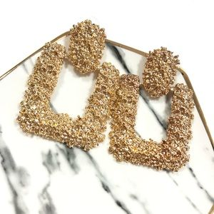 Gold Door Knockers Shiny Square Earring Studs